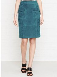 Reiss Lake Suede Pencil Skirt Blue