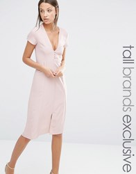 Alter Tall Button Front Short Sleeve Midi Dress Blush Pink