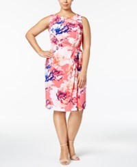 Calvin Klein Plus Size Floral Print Twisted Sheath Dress Coral Multi
