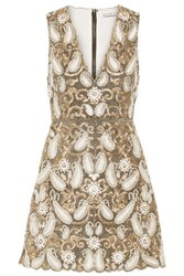 Alice Olivia Jania Embellished Mesh Mini Dress Gold