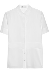 Alexander Wang Layered Silk Chiffon And Crepe De Chine Shirt White