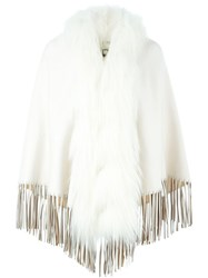 Fendi Fur Trim Fringed Cape White