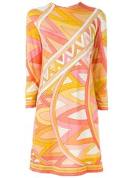 Emilio Pucci Vintage Printed Shift Dress Yellow And Orange