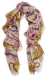 Gucci Printed Modal And Silk Blend Scarf Pink