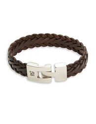 Uno De 50 Knitting Braided Leather Bracelet Brown