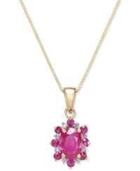 Macy's Ruby 1 1 4 Ct. T.W. And Diamond Accent Pendant Necklace In 14K Gold Red