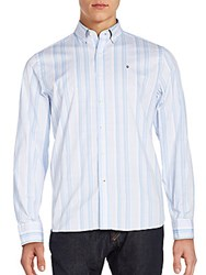 Victorinox Tailored Fit Sellen Striped Sportshirt Faded Blue
