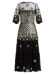 Temperley London Starlet Sequinned Tulle And Chiffon Dress Black Multi