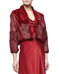 Cushnie Et Ochs 3 4 Sleeve Fur Bolero Ruby Red Women's