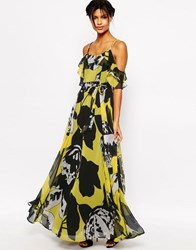 Asos Ruffle Cami Maxi Dress In Yellow And Black Floral Multi