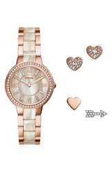 Women's Fossil 'Virginia' Bracelet Watch Set 30Mm Rose Gold Shimmer Horn