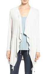Matty M Women's Drawstring Drape Front Cardigan Pearl Grey