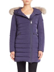 Peuterey Seriola Fox Fur Trim Down Puffer Coat Dusty Blue