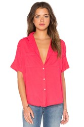 Sundry Cotton Voile Short Sleeve Shirt Pink