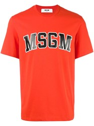 Msgm Logo Print T Shirt Red