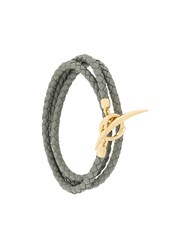 Shaun Leane Quill Wrap Bracelet Leather Gold Plated Sterling Silver Grey