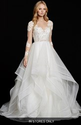 Women's Hayley Paige 'Elysia' Long Sleeve Lace And Tulle Ballgown In Stores Only