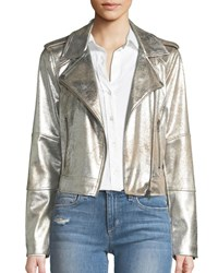 Cupcakes And Cashmere Brooklee Foiled Faux Suede Moto Jacket Silver