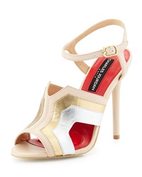 Charles Jourdan Lauralin Metallic Cutout Sandal Bone Gold Silver