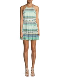 Wildfox Couture Hanalei Striped Halter Dress Green Multi