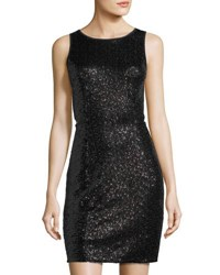 Kensie Sleeveless Sequined Cutout Dress Black