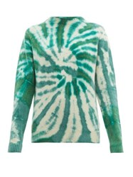 The Elder Statesman Tie Dyed Cashmere Sweater Green Multi