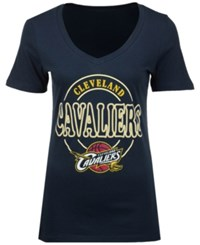 5Th And Ocean Women's Cleveland Cavaliers Circle Glitter T Shirt Navy