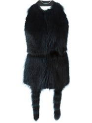 Givenchy Backless Fur Gilet Blue