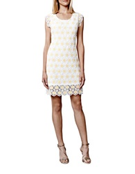Julia Jordan Plus Floral Lace Sheath Dress White Yellow