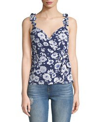Likely Marin Sleeveless Floral Ruffle Top Blue Pattern