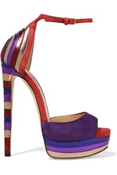 Jimmy Choo Max Metallic Leather Paneled Suede Platform Sandals Purple