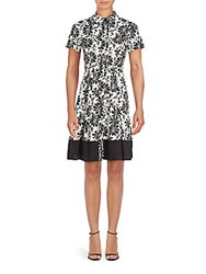Shoshanna Floral Campbell A Line Dress Black White