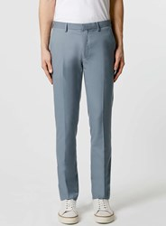Topman Dusty Blue Skinny Fit Suit Trousers