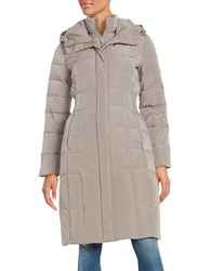 Cole Haan Signature Hooded Quilted Down Coat Light Brown