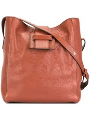 Max Mara Fold Over Fastening Cross Body Bag Brown