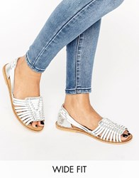 Asos Joel Wide Fit Leather Woven Flat Shoes Silver White Mix Multi