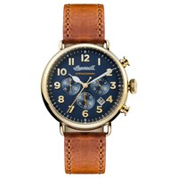 Ingersoll I03501 Men's The Trenton Chronograph Date Leather Strap Watch Tan Navy