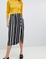 Bershka Midi Skirt In Multi Stripe