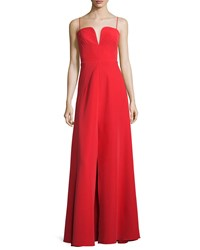 Milly Sleeveless Sweetheart Front Slit A Line Gown Women's Size 14 Red