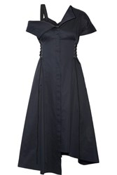 Jason Wu Lace Up Asymmetric Cotton Poplin Dress Midnight Blue
