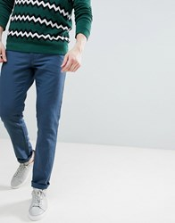United Colors Of Benetton Slim Fit Linen Chinos In Navy