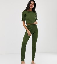 Asos Design Tall Mix And Match Ribbed Legging With Tortoishell Buttons Green