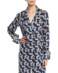 Lela Rose Double Breasted Floral Print Shirt W Tie Cuffs Blue Pattern