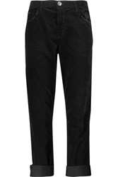 Current Elliott The Fling Stretch Cotton Velvet Pants Black