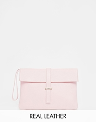 Faith Cracked Leather Clutch Pink