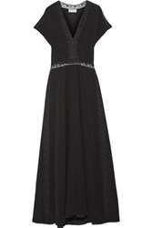 Paul And Joe Lace Trimmed Silk Crepe De Chine Maxi Dress Black