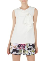 Ted Baker Kelliss Sculpted Bow Sleeveless Top Natural Ivory