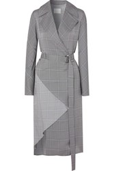 Dion Lee Belted Checked Crepe Trench Coat Gray