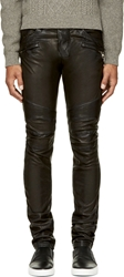 Balmain Black Leather Classic Biker Trousers