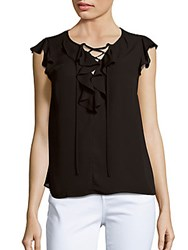 Collective Concepts Ruffled Front Tie Blouse Black